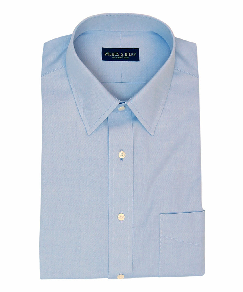 Tailored Fit Blue Solid Point Collar Supima® Cotton Non-Iron Pinpoint Oxford Dress Shirt
