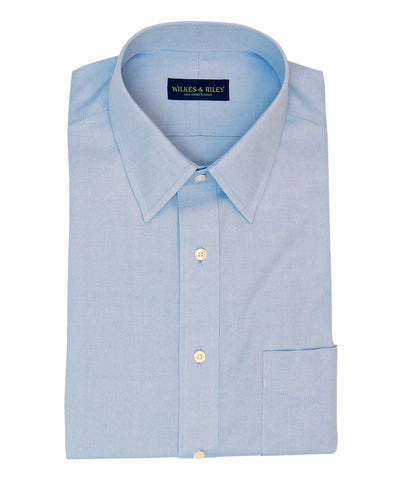 Classic Fit Blue Solid Point Collar Supima® Cotton Non-Iron Pinpoint Oxford Dress Shirt (B/T)