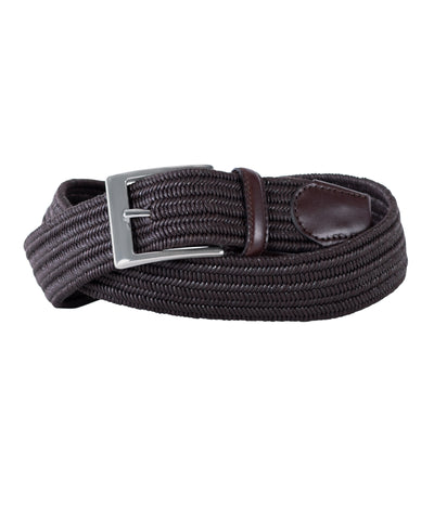 Brown Stretch with Tonal Brown Leather Trim Belt