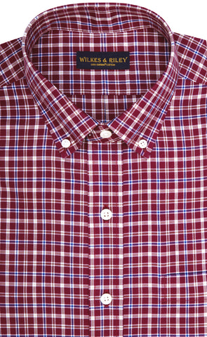 Tailored Fit Burgundy Multi Plaid Twill Button-Down Collar Supima® Cotton Non-Iron Sport Shirt