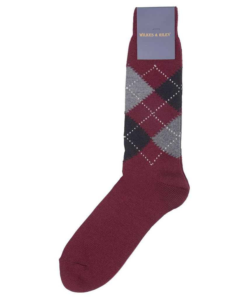 Burgundy Argyle Wool Crew Sock