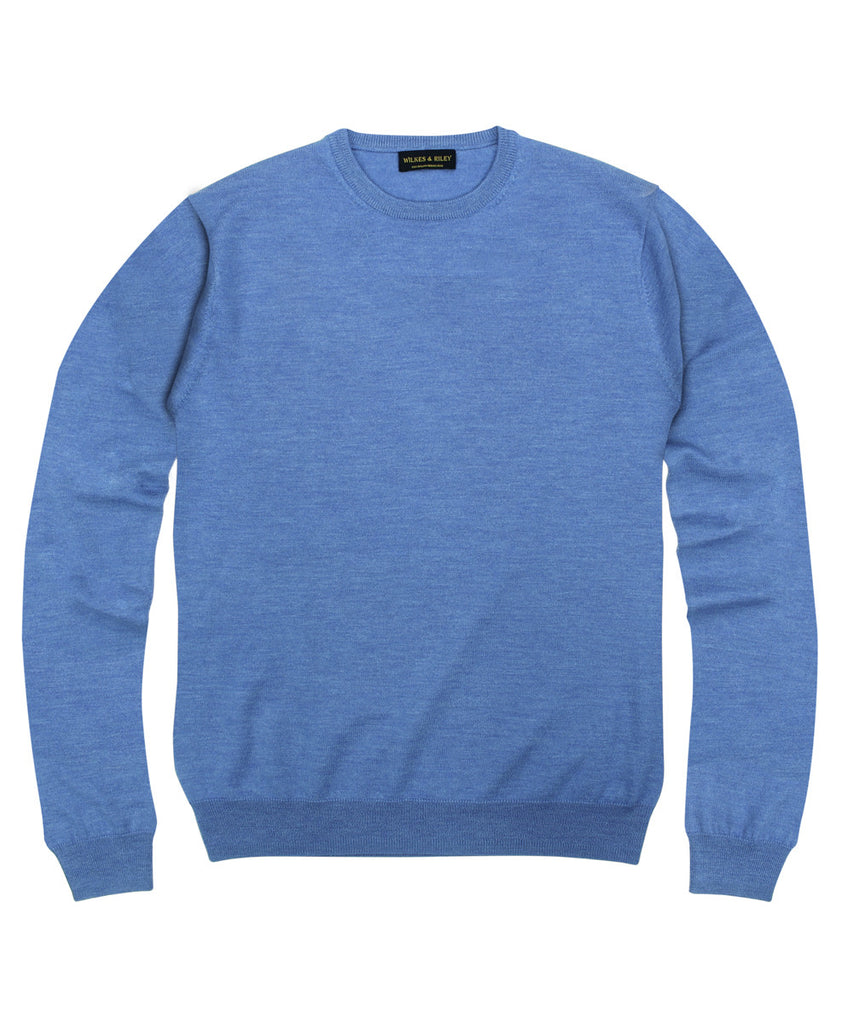Wilkes & Riley 100% Pure Merino Wool Zegna Baruffa Crewneck Sweater- Light Blue