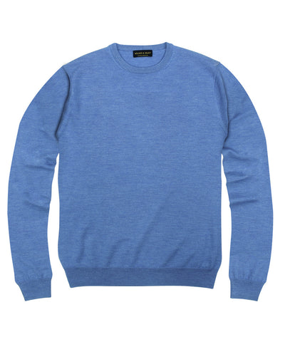 100% Pure Merino Wool Zegna Baruffa Crewneck Sweater- Light Blue