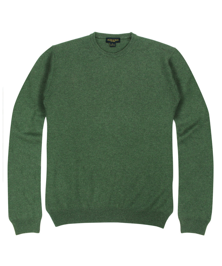 Wilkes & Riley 100% Cashmere Crewneck Sweater W/ Loro Piana Yarn - Forest