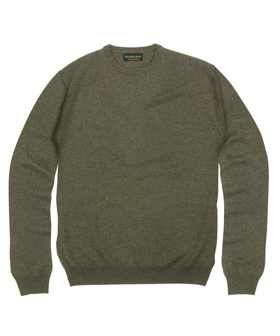 100% Pure Merino Wool Zegna Baruffa Crewneck Sweater - Brown