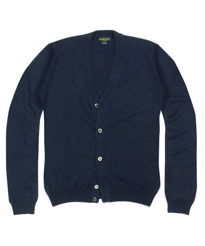100% Cashmere Cardigan Sweater w/ Loro Piana Yarn - Navy