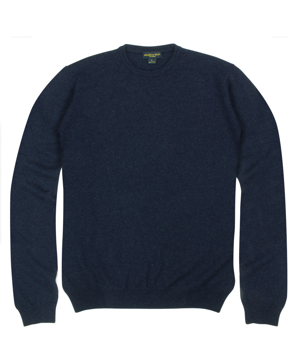 Wilkes & Riley 100% Cashmere Crewneck Sweater W/ Loro Piana Yarn in Navy