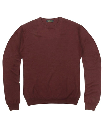 Wilkes & Riley 100% Pure Merino Wool Zegna Baruffa Crewneck Sweater - Burgundy