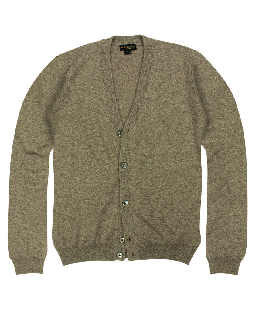 Wilkes & Riley 100% Cashmere Cardigan Sweater with Loro Piana Yarn in Taupe