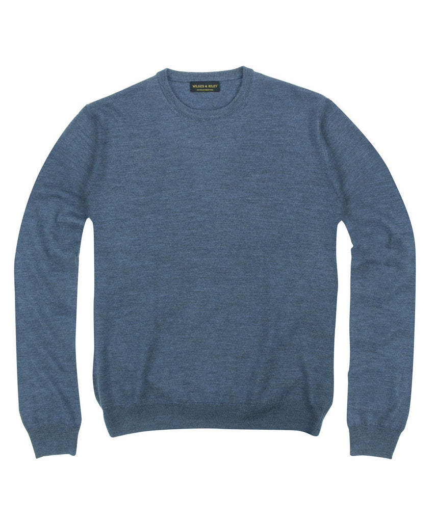 Wilkes & Riley 100% Pure Merino Wool Zegna Baruffa Crewneck Sweater in Blue