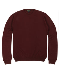 Wilkes & Riley 100% Cashmere Crewneck Sweater W/ Loro Piana Yarn - Burgundy