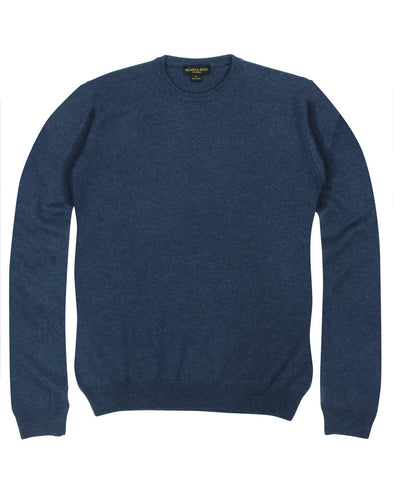 100% Cashmere Crewneck Sweater w/ Loro Piana Yarn - Blue