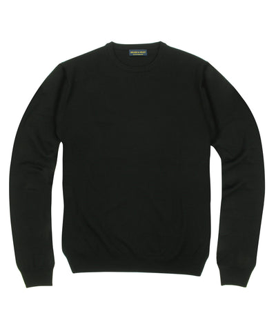 100% Pure Merino Wool Zegna Baruffa Crewneck Sweater - Black