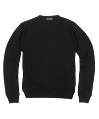 Wilkes & Riley 100% Pure Merino Wool Zegna Baruffa Crewneck Sweater - Black