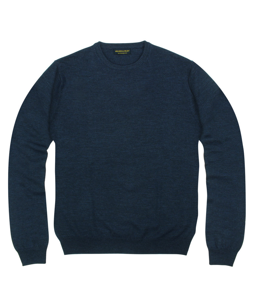Wilkes & Riley 100% Pure Merino Wool Zegna Baruffa Crewneck Sweater - Navy