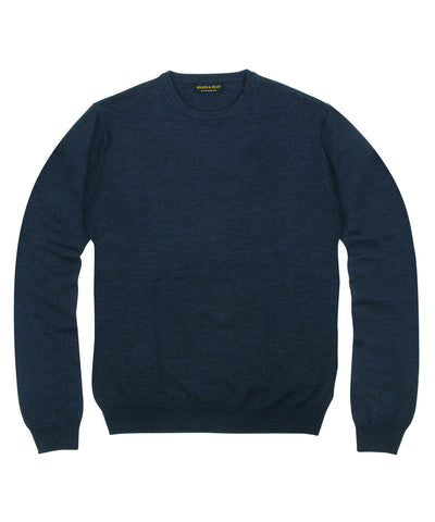 100% Pure Merino Wool Zegna Baruffa Crewneck Sweater - Navy