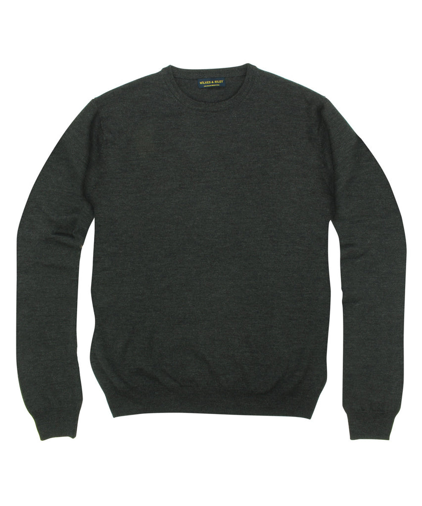 Wilkes &amp; Riley 100% Pure Merino Wool Zegna Baruffa Crewneck Sweater - Charcoal>VIEW FULL SIZE IMAGE</a>                                                                                                         <div id=