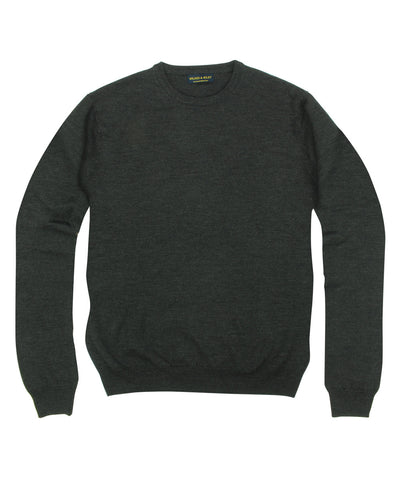 100% Pure Merino Wool Zegna Baruffa Crewneck Sweater - Charcoal