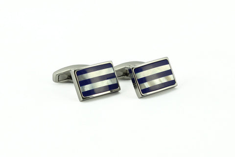 Silver Blue Stripe Cufflinks