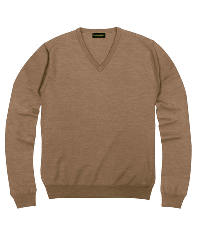 100% Pure Merino Wool Zegna Baruffa V-Neck Sweater - Camel