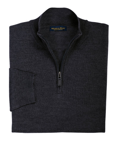 Ultra-fine Zegna Baruffa Half-Zip Merino Wool Sweater - Charcoal