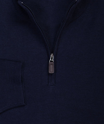 Ultra-fine Zegna Baruffa Half-Zip Merino Wool Sweater -Navy