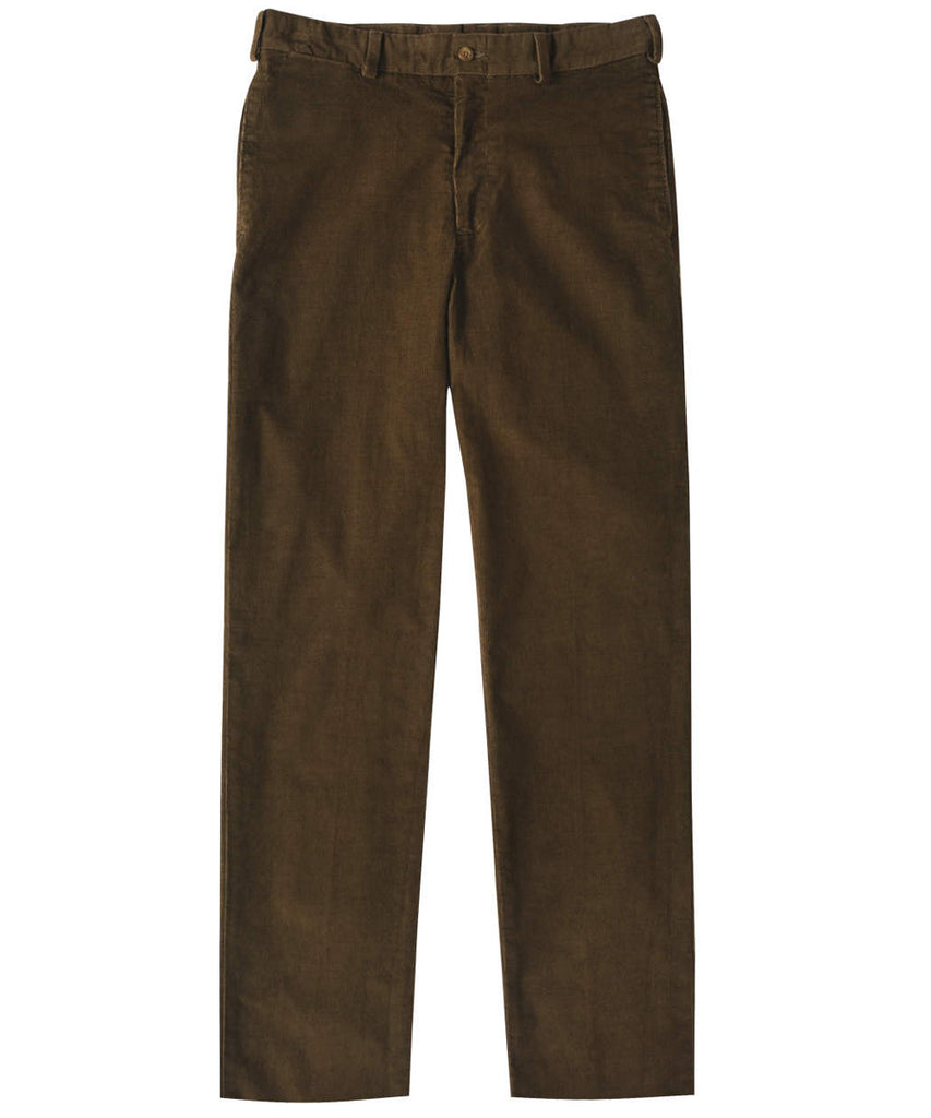 Corduroy Trousers from Bills Khakis - Classic Fit Plain Front (Fatigue)