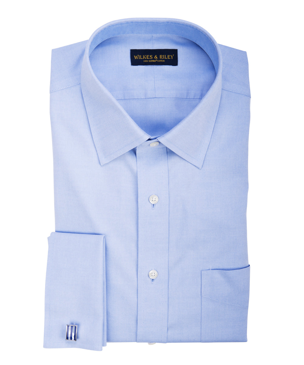 Tailored Fit Blue Solid Spread Collar French Cuff Supima® Cotton Non-Iron Pinpoint Oxford Dress Shirt