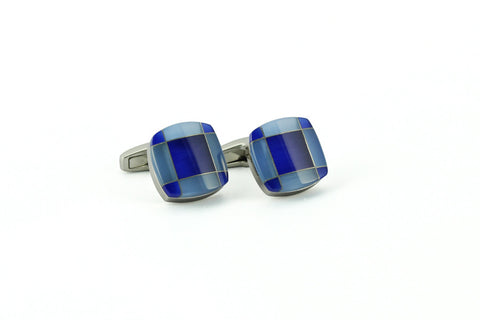 Blue & White Square Cufflinks