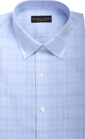 Classic Fit Light Blue Glen Plaid Spread Collar  Supima® Cotton Non-Iron Broadcloth Dress Shirt