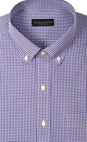 Classic Fit Purple Gingham Button-Down Collar Supima® Cotton Non-Iron Broadcloth Sport Shirt
