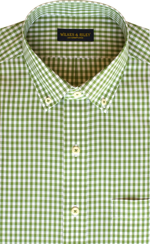 Tailored Fit Green Gingham Button-Down Collar Supima® Non-Iron Cotton Broadcloth Sport Shirt (B/T)