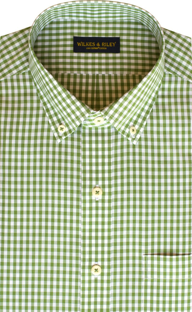 Wilkes & Riley Green gingham check in classic fit