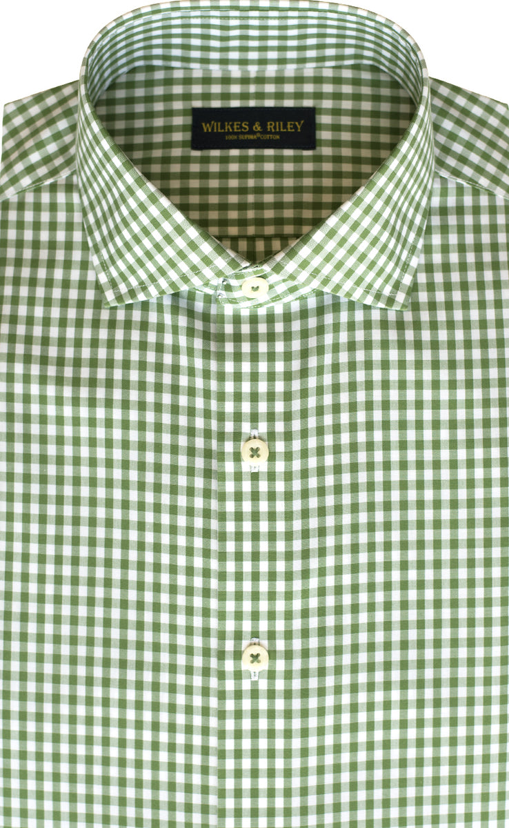 Slim Fit Green Gingham English Spread Collar Supima® Cotton Non-Iron Broadcloth Dress Shirt