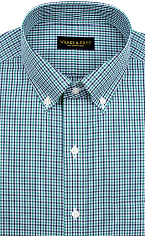Tailored Fit Green / Navy Tattersall check Button-Down Collar Supima® Non-Iron Cotton Broadcloth Sport Shirt