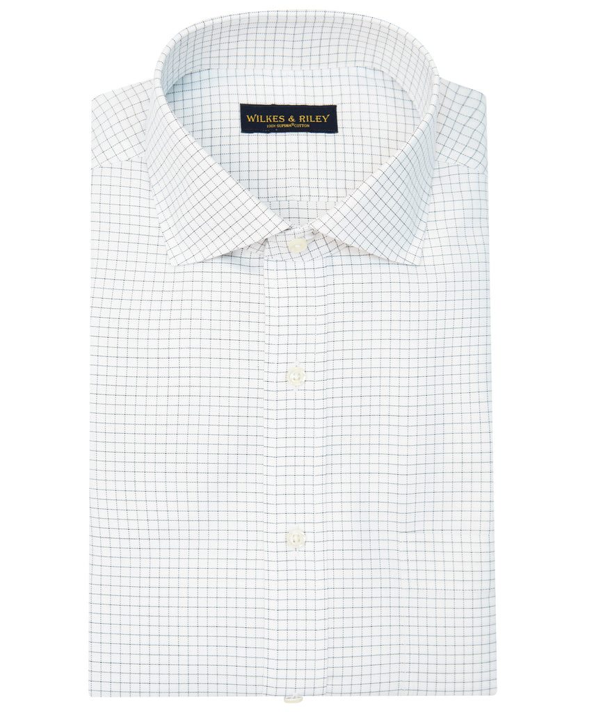 Slim Fit Grey Check English Spread Collar Supima® Cotton Non-Iron Twill Dress Shirt>VIEW FULL SIZE IMAGE</a>                                                                                                         <div id=