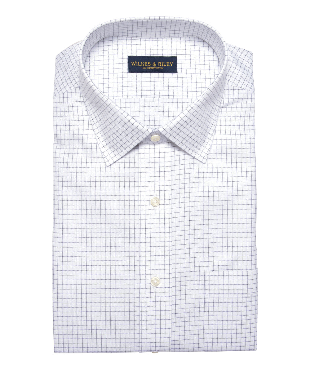Wilkes & Riley Tailored Fit Grey Twill Check Spread Collar