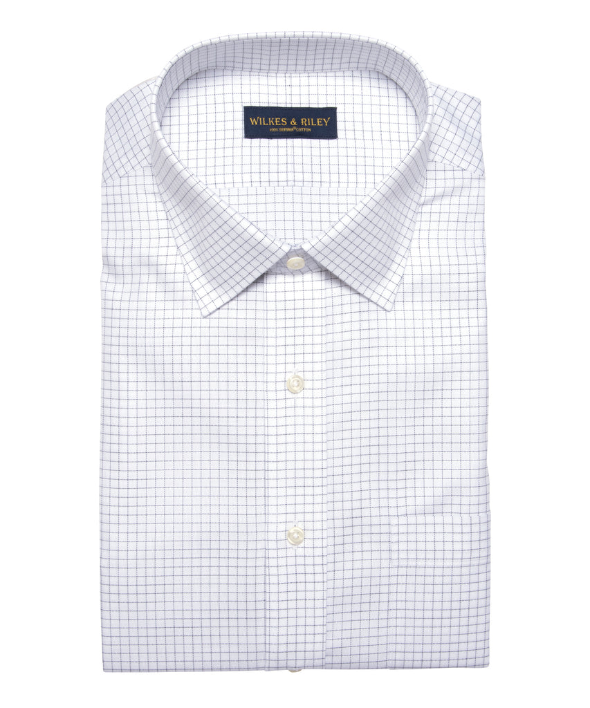 Wilkes & Riley Classic Fit Grey Twill Check Spread Collar