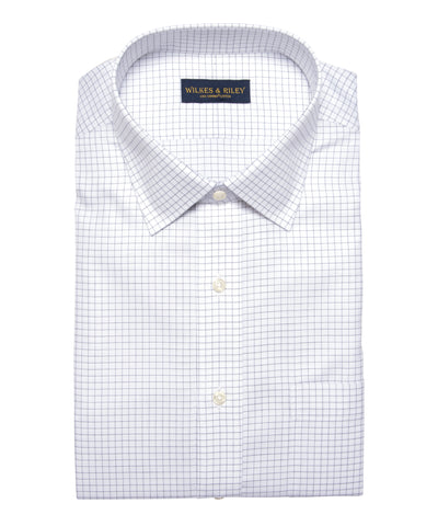 Classic Fit Grey Twill Check Spread Collar Supima® Cotton Non-Iron Dress Shirt