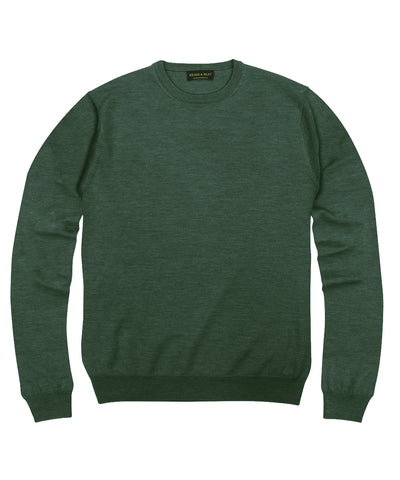 100% Pure Merino Wool Zegna Baruffa Crewneck Sweater - Hunter
