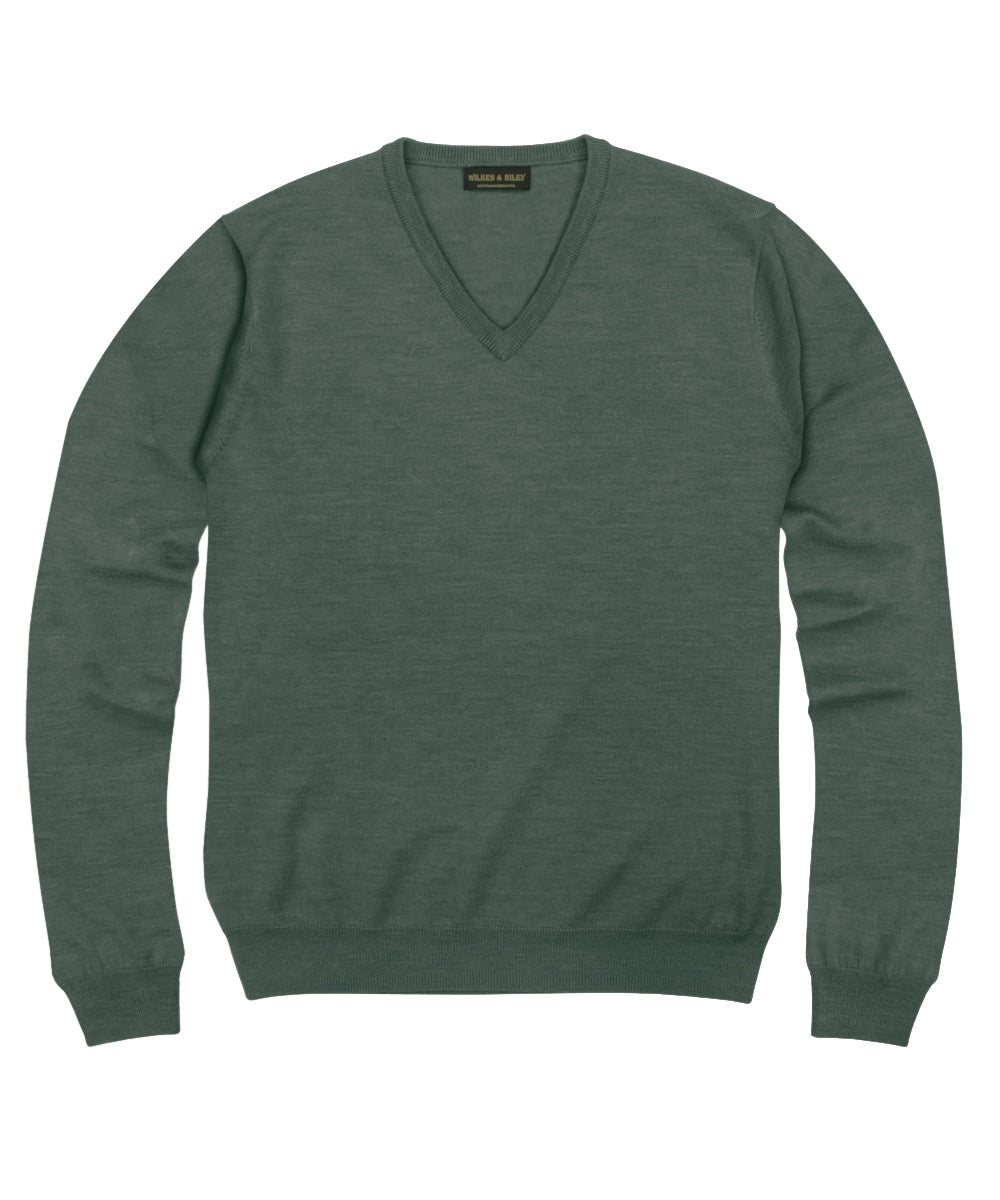 100% Pure Merino Wool Zegna Baruffa V-Neck Sweater - Hunter