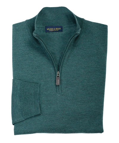 Ultra-fine Zegna Baruffa Half-Zip Merino Wool Sweater - Hunter