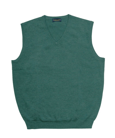 Zegna Baruffa Italian Merino Wool V-Neck Sweater Vest- Hunter