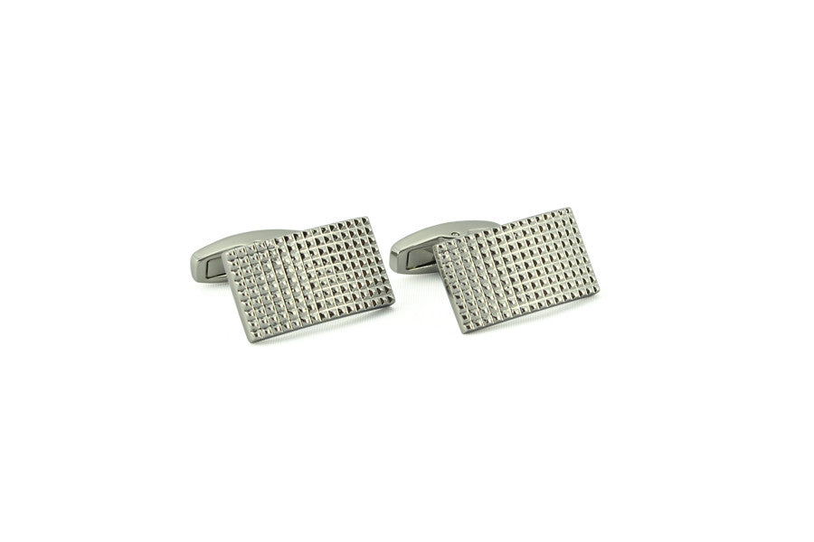 Silver Textured Rectangle Cufflinks
