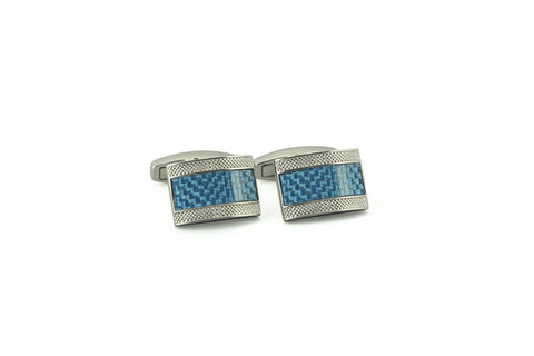Lt. Blue Carbon Fiber Rectangle Cufflinks