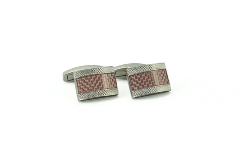 Pink Carbon Fiber Rectangle Cufflinks