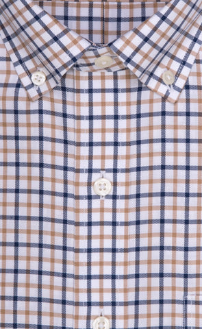 Wilkes & Riley Tan & Navy Check Button Down Sport Shirt Alt