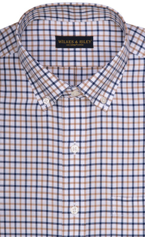Wilkes & Riley Tan & Navy Check Button Down