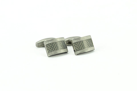 Grey Carbon Fiber Rectangle Cufflinks