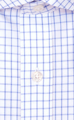 Wilkes and Riley Tailored Fit Blue Large Check English Spread Collar  Supima® Cotton Non-Iron Broadcloth Dress Shirt Alt